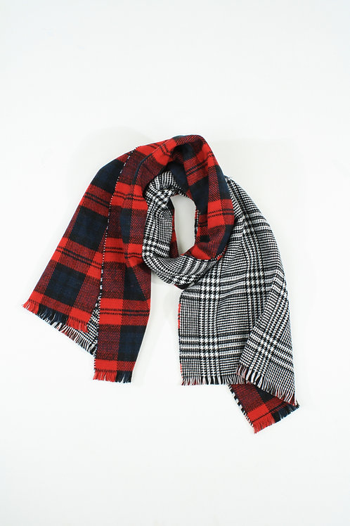 Double-faced Black and Red plaid Scarf