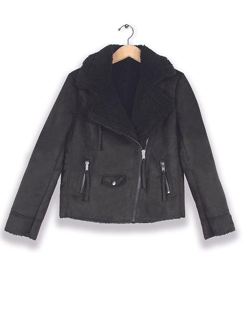 Aubrey Vegan Suede Fur Moto Jacket