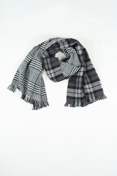 Double-faced Black and White  Red plaid Scarf
