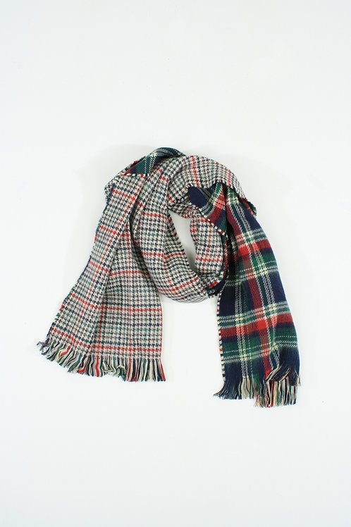 Double-faced green and red plaid Scarf