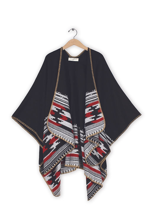 Women's Patterned Open Front Poncho