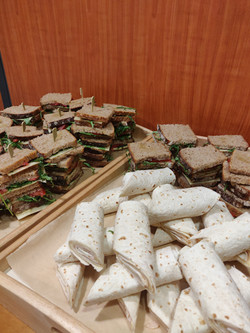 healthy catering outside a meeting room.