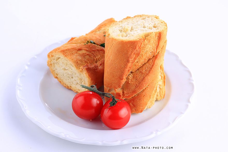 Franču bagete ar cherry tomātiem
