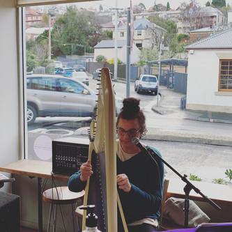 Georgina on harp