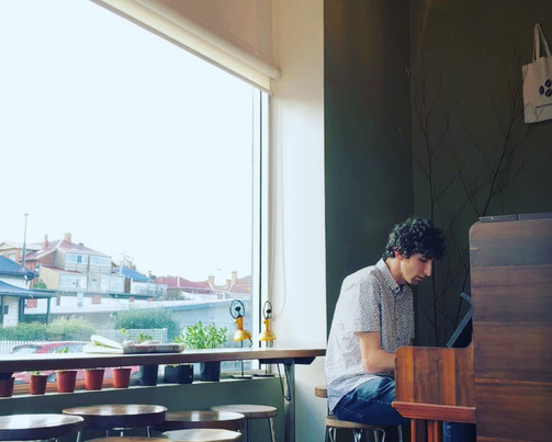 Angus on piano