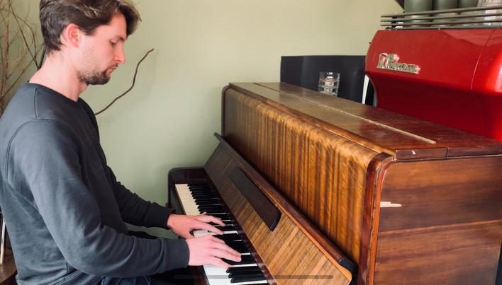 James on piano