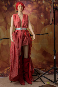 Red Abstract Dress by Michele