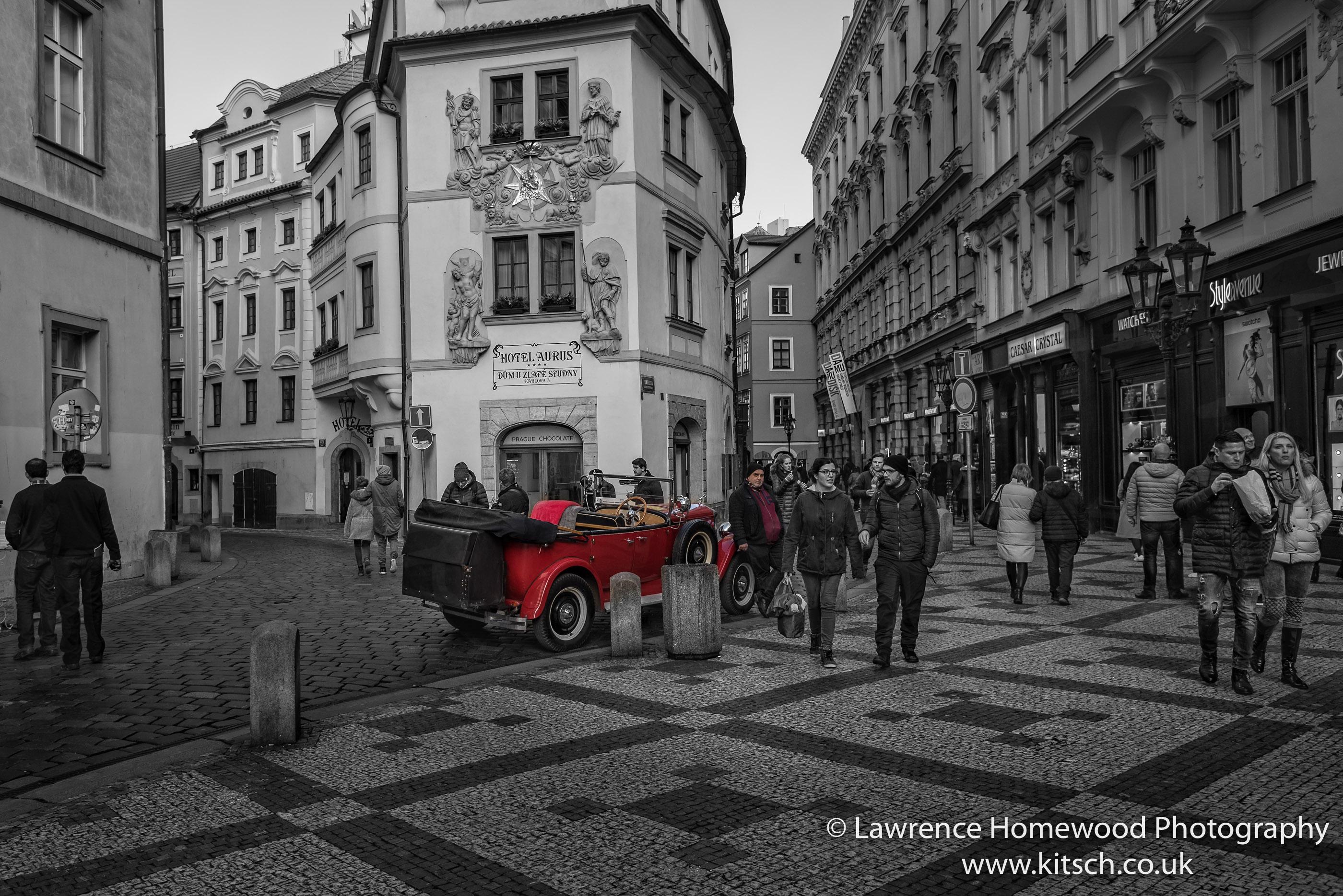 Red Car Prague Streets-3