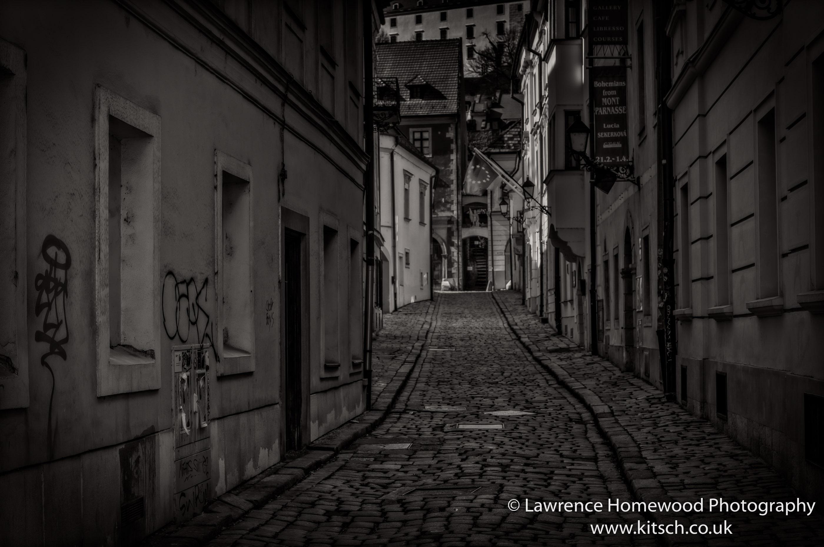 Bratislava Narrow Empty Streets B-W