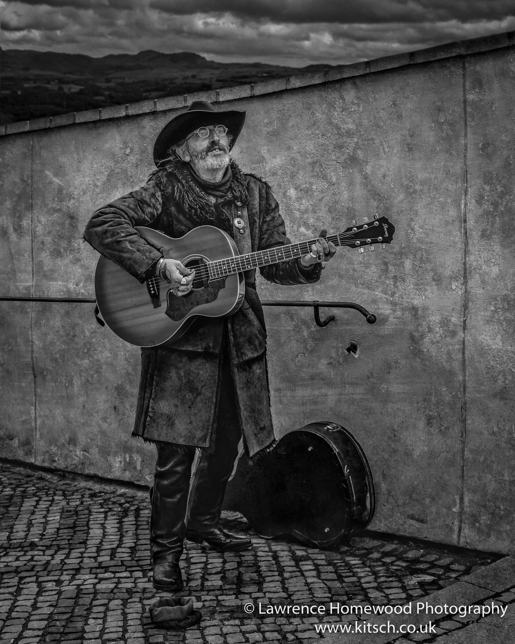 Prague Street Musician b-w
