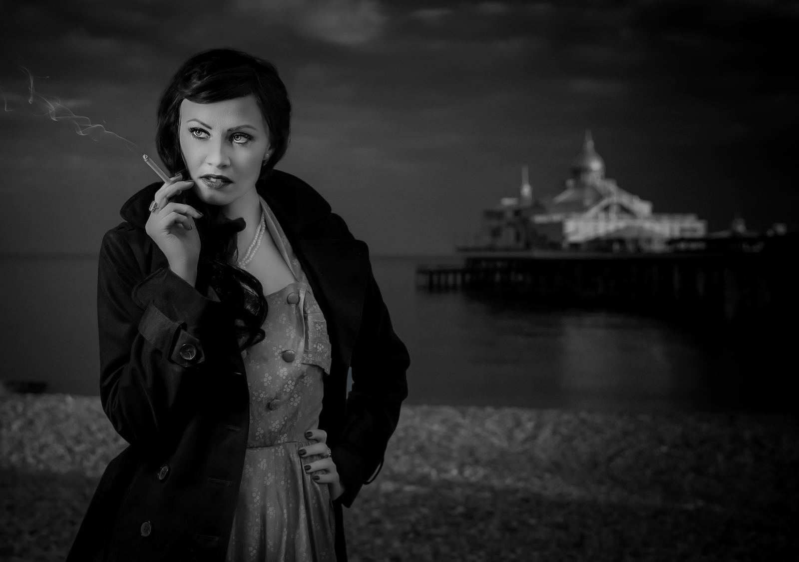 Film Noir Waiting by the Pier
