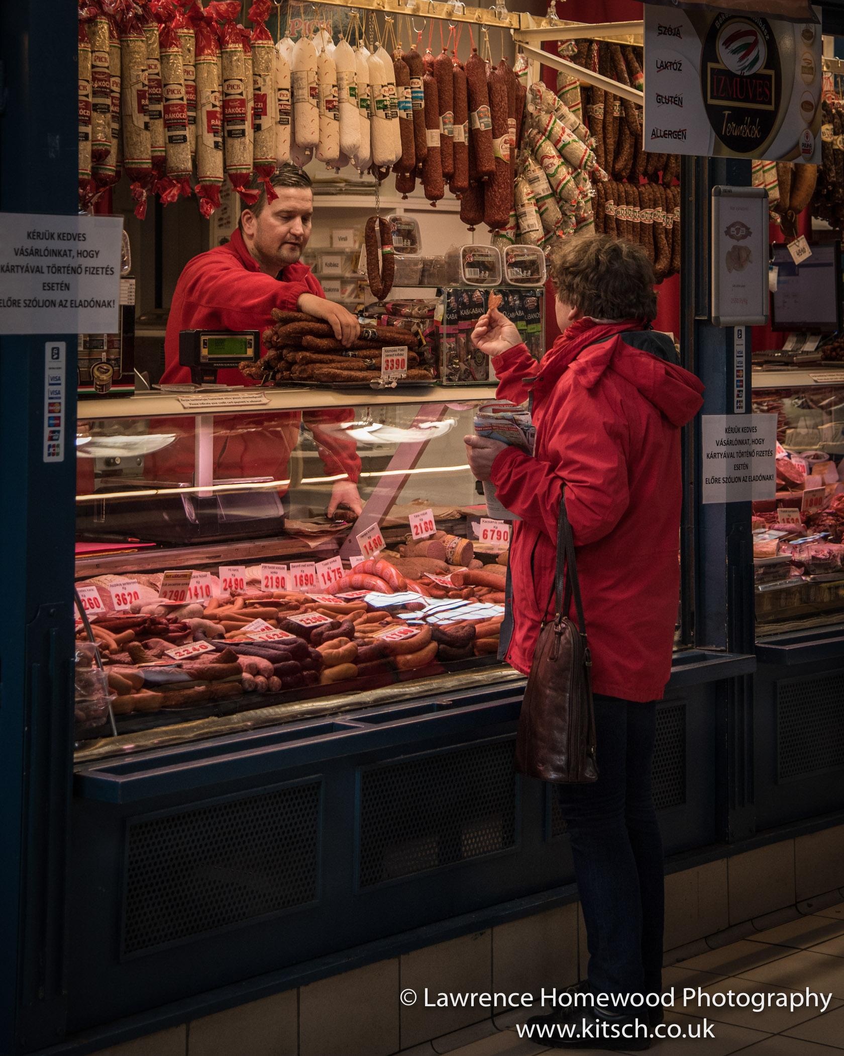 Budapest Market Buying Meat