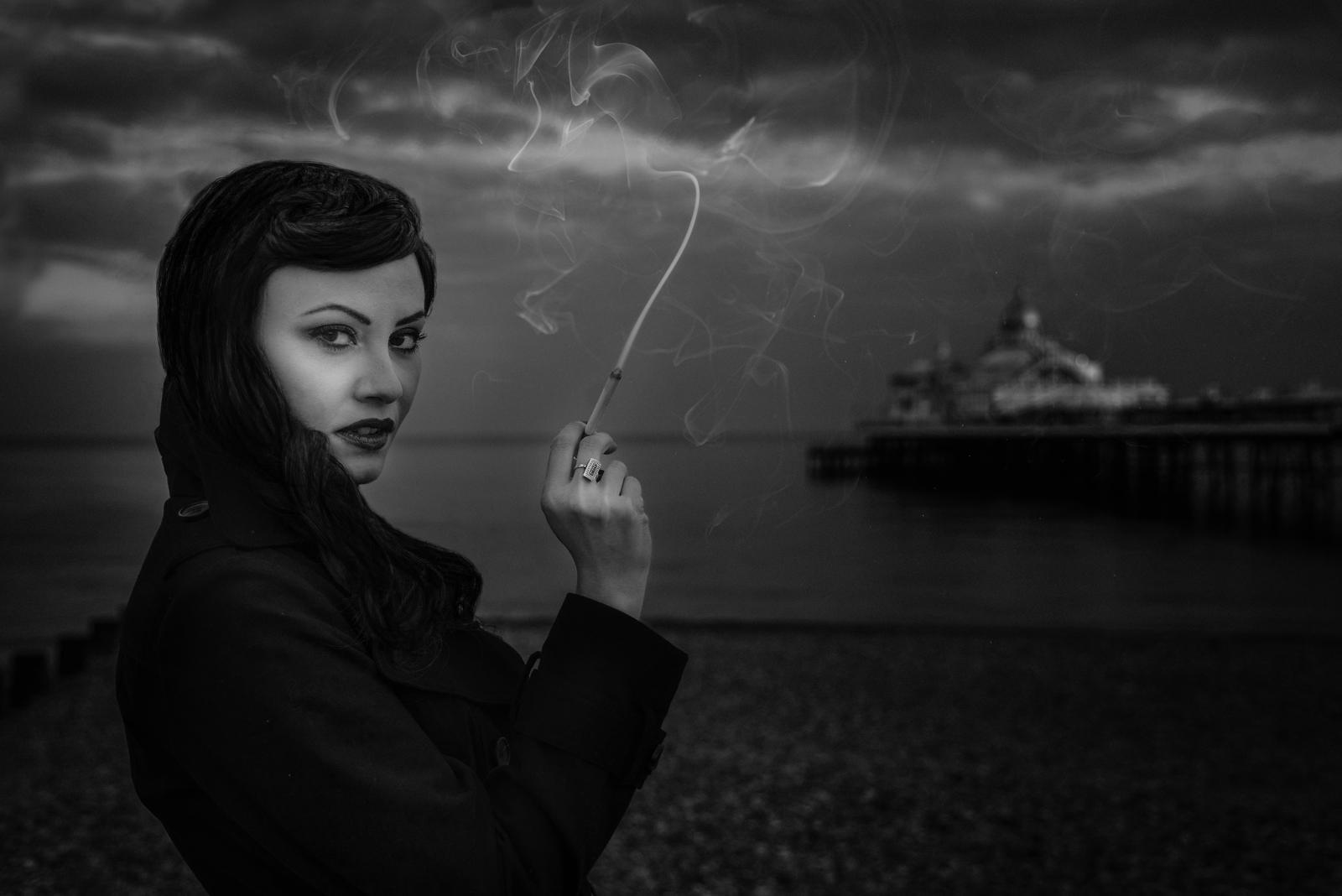 Film Noir Smoking at the Pier