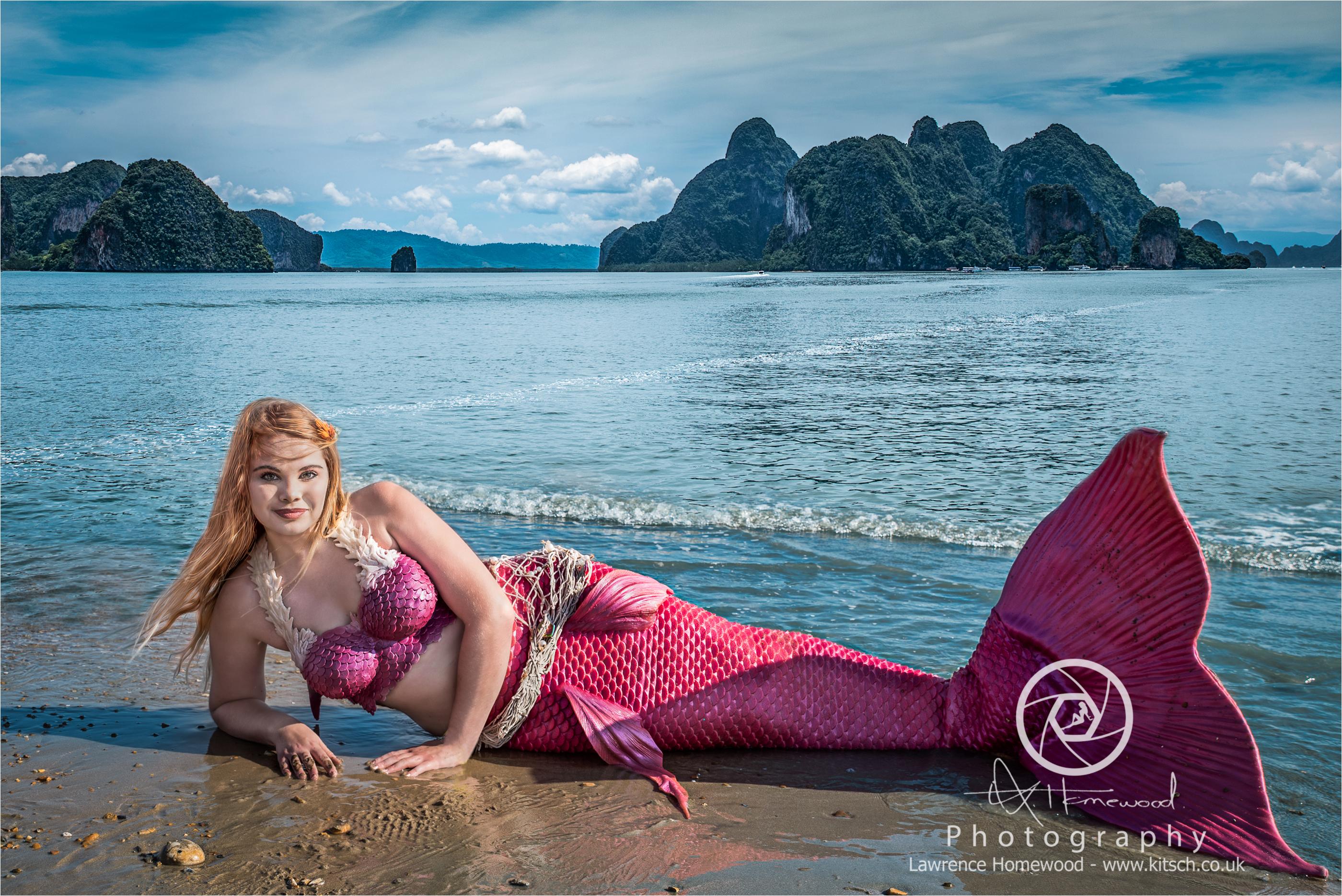 Pink Mermaid on the Beach redone