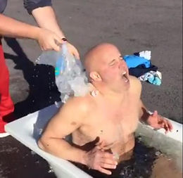 Chef Paul Treyvaud in Ice Bath at Real World Combat & Fitness gym. Personal training transformations with Body By Finn in Kenmare, Co Kerry, Ireland