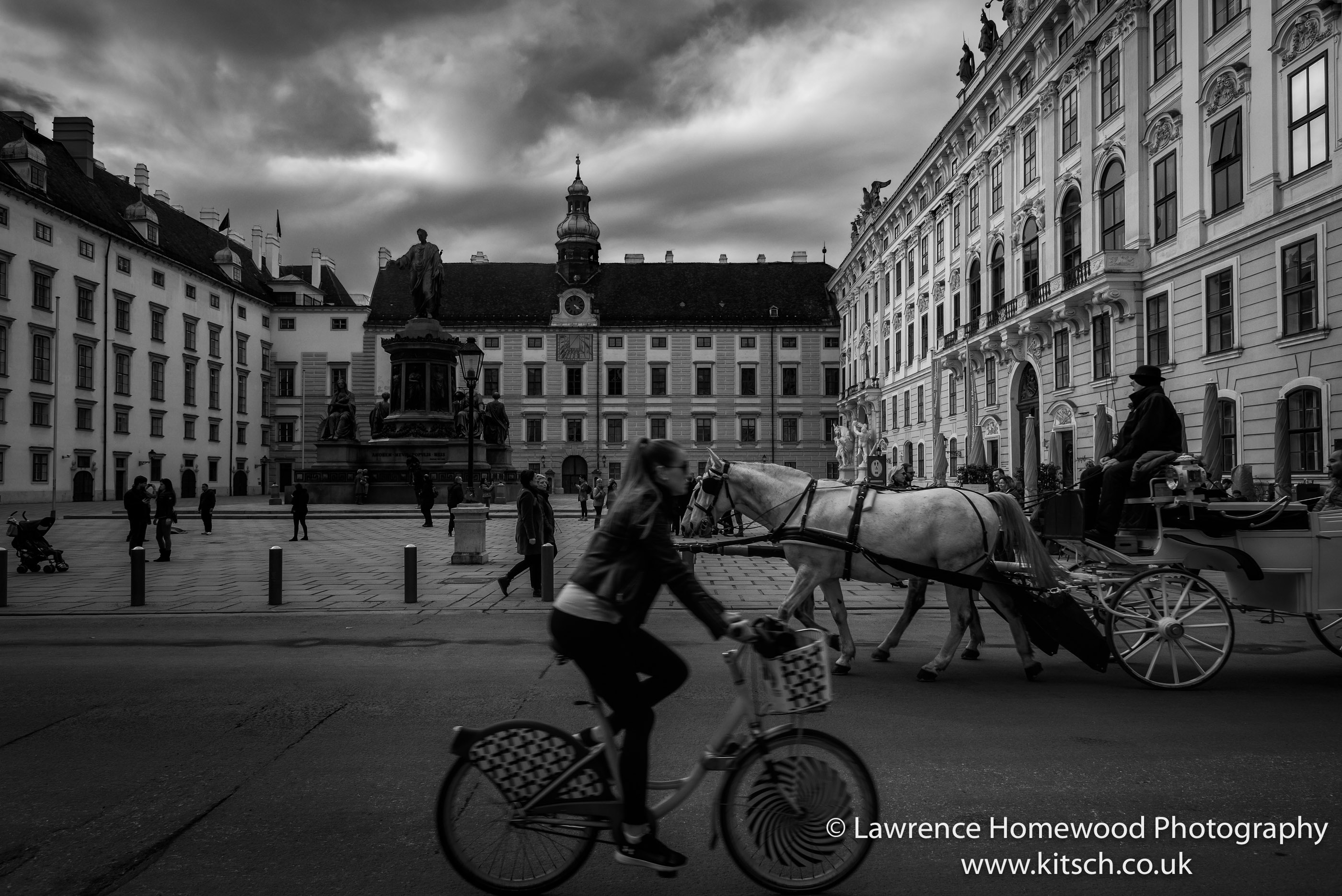 Vienna Hofberg Palace Modes of Transport b-w
