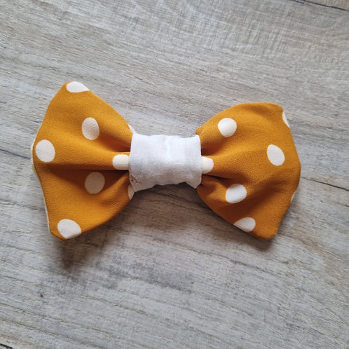 Yellow Polka Dot with White Centre Bow