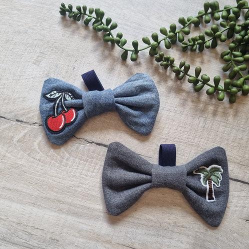 Blue or Grey Denim Bow