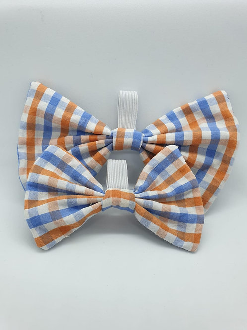 Blue & Orange Checkered Bow