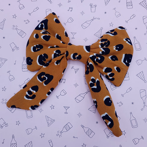 Mustard Leopard Sailor Bow