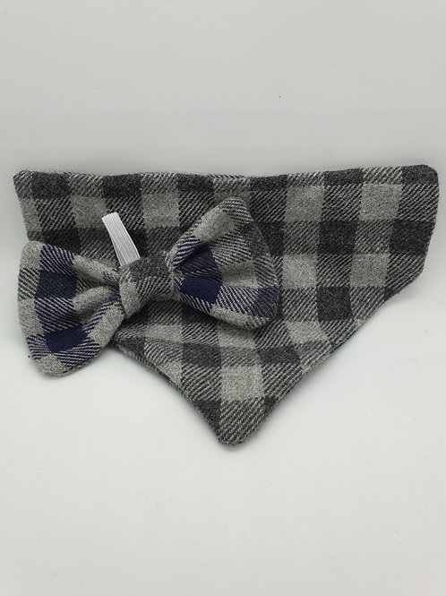 Grey & Purple Check Flannel Bow & Bandana Set - Reversible