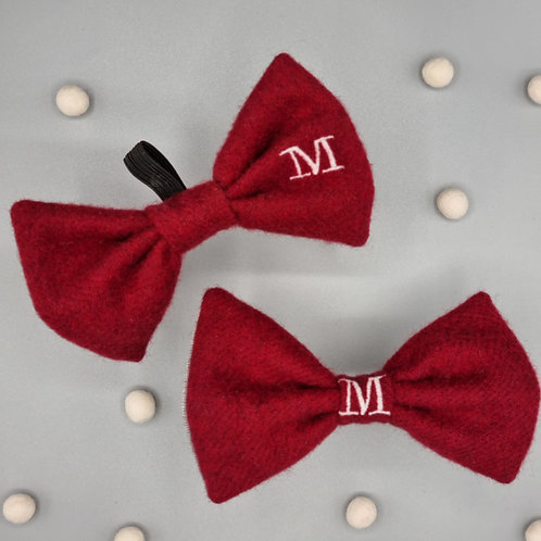 Custom Wool Embroidered Initial Bow