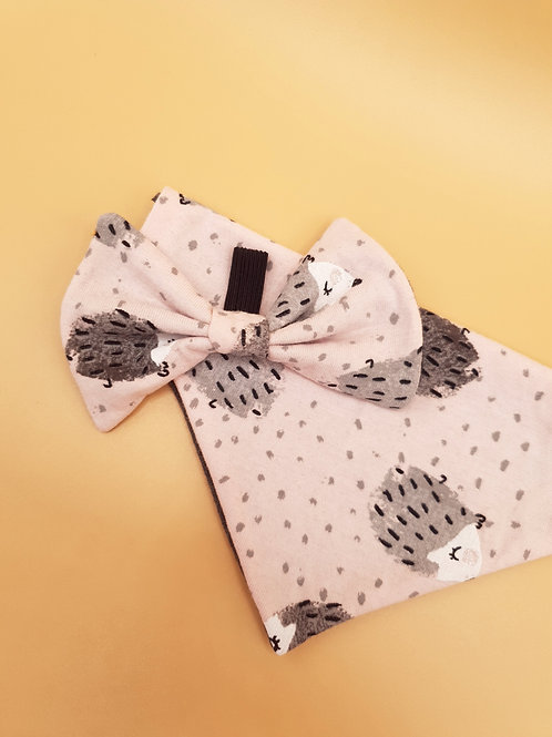 Cute Pink Hedgehogs Bow & Bandana Set