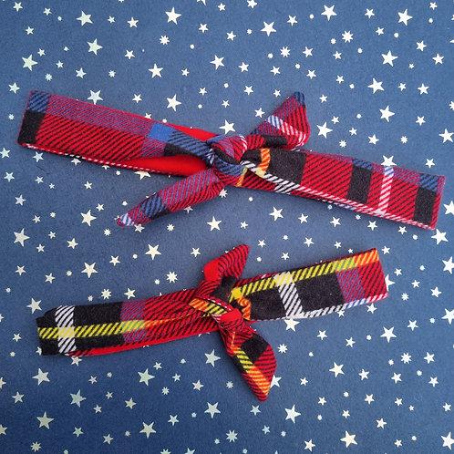 Twin Matching Set Scarlet Red Tartan Neckerchief AND Headband