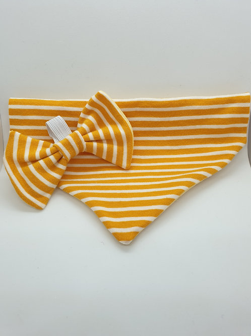 Golden Yellow Stripe Bow & Bandana Set
