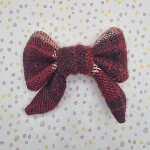Red Check Wool Sailor Bow