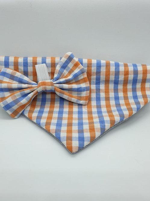 Blue & Orange Checkered Bow & Bandana Set