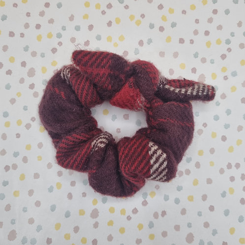 Red Check Wool Scrunchie
