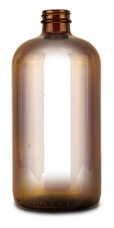 Empty amber glass bottle for essiac tea storage