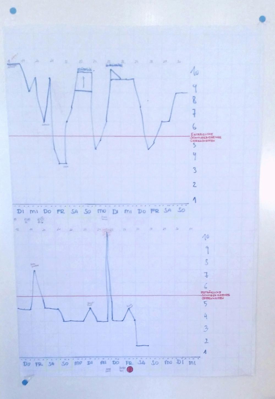 Um zu sehen wo wir stehen ... meine Schmerz Grafik  1:) ..  10 :(