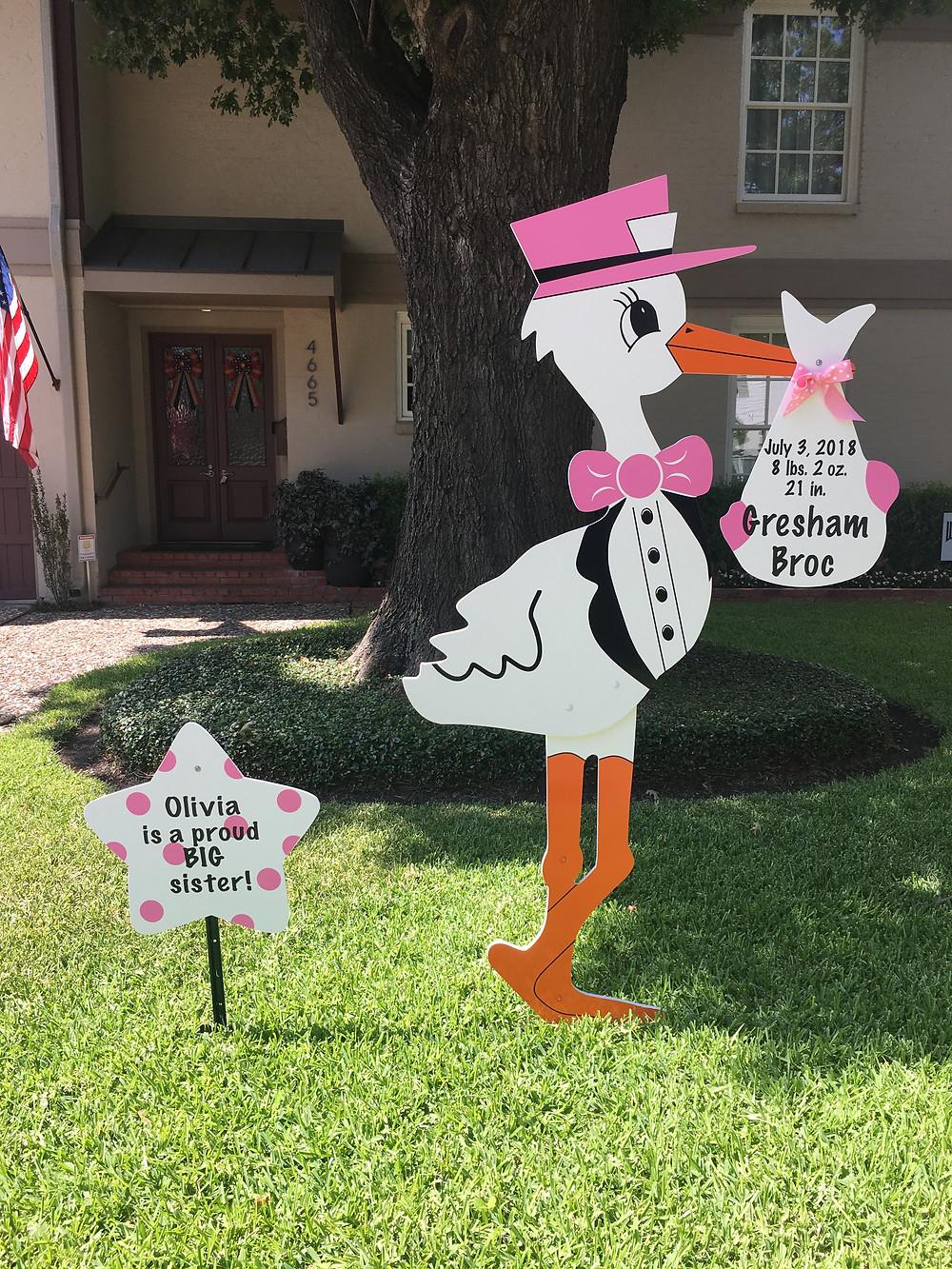 baby girl stork and big sister sign