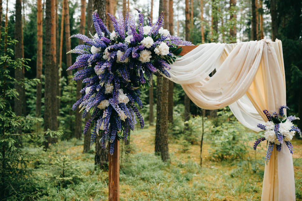 beautiful-wedding-arch-with-blue-flowers
