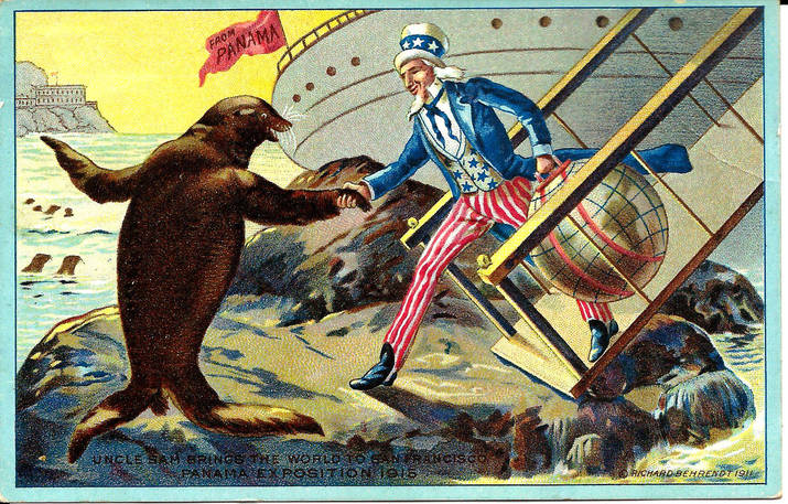 Postcard 91 Uncle Sam brings the world t