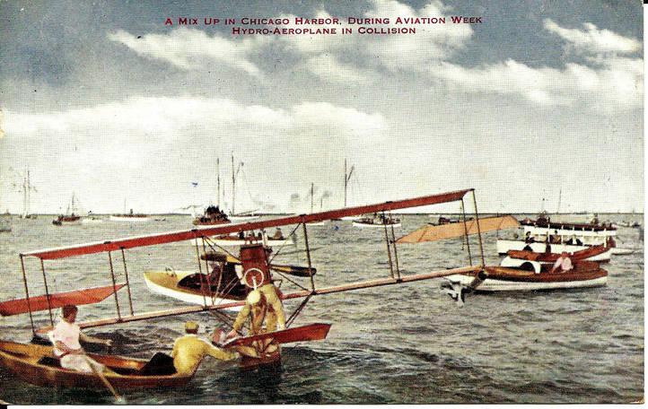 Postcard 60 Biplanes collide Lake Michig