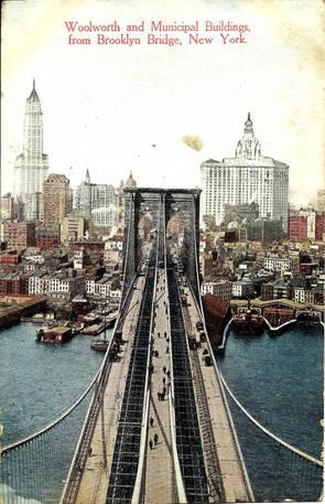 Postcard 82 Brooklyn Bridge Woolworth &