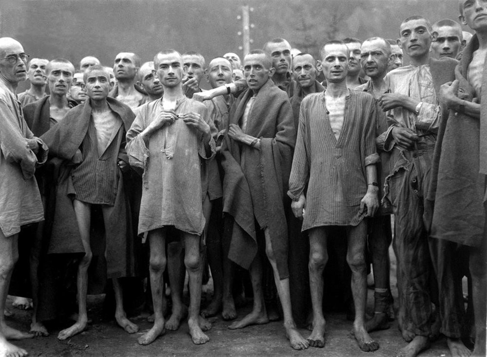Ebensee Concentration Camp Prisoners 1945. Photograph from  Wikipedia