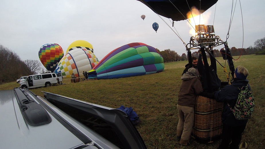 Hot air balloon's getting ready for take off you