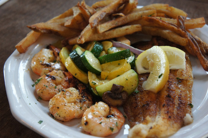 Fish and Shrimp Grilled with Fresh Veggies and Hand-cut Fries