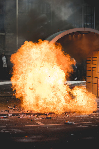 Molotov exploding during a demonstration in Paris, May 2017