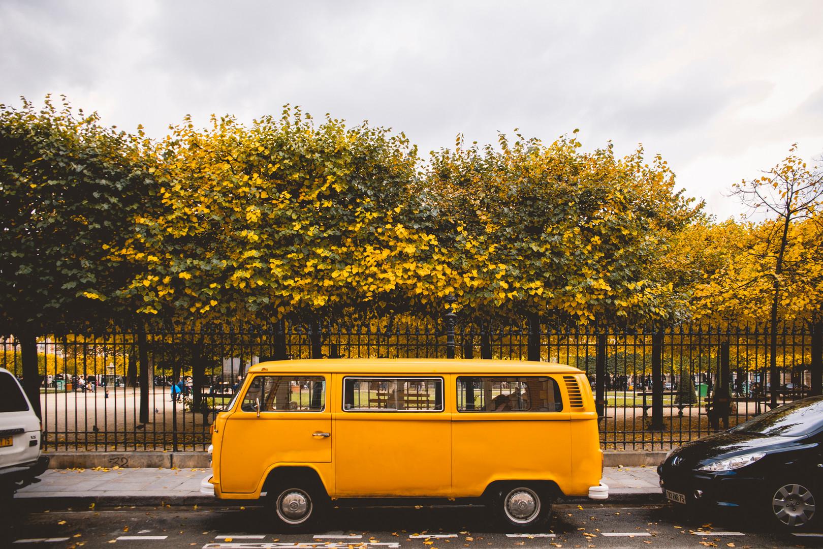Volksvagen T2 parked next to Place des Vosges in the Marais, Paris. October 20th, 2016