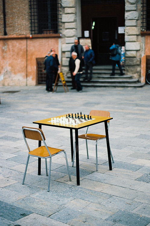 Chess table in Vignola, Italy, November 2018