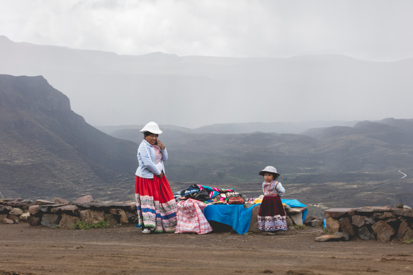Street vendors in Colca Valley, Perù, February 2016