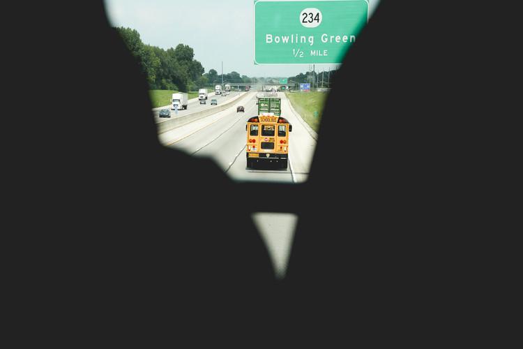 School bus in Bowling Green, Street 234, Kentucky, August 2013