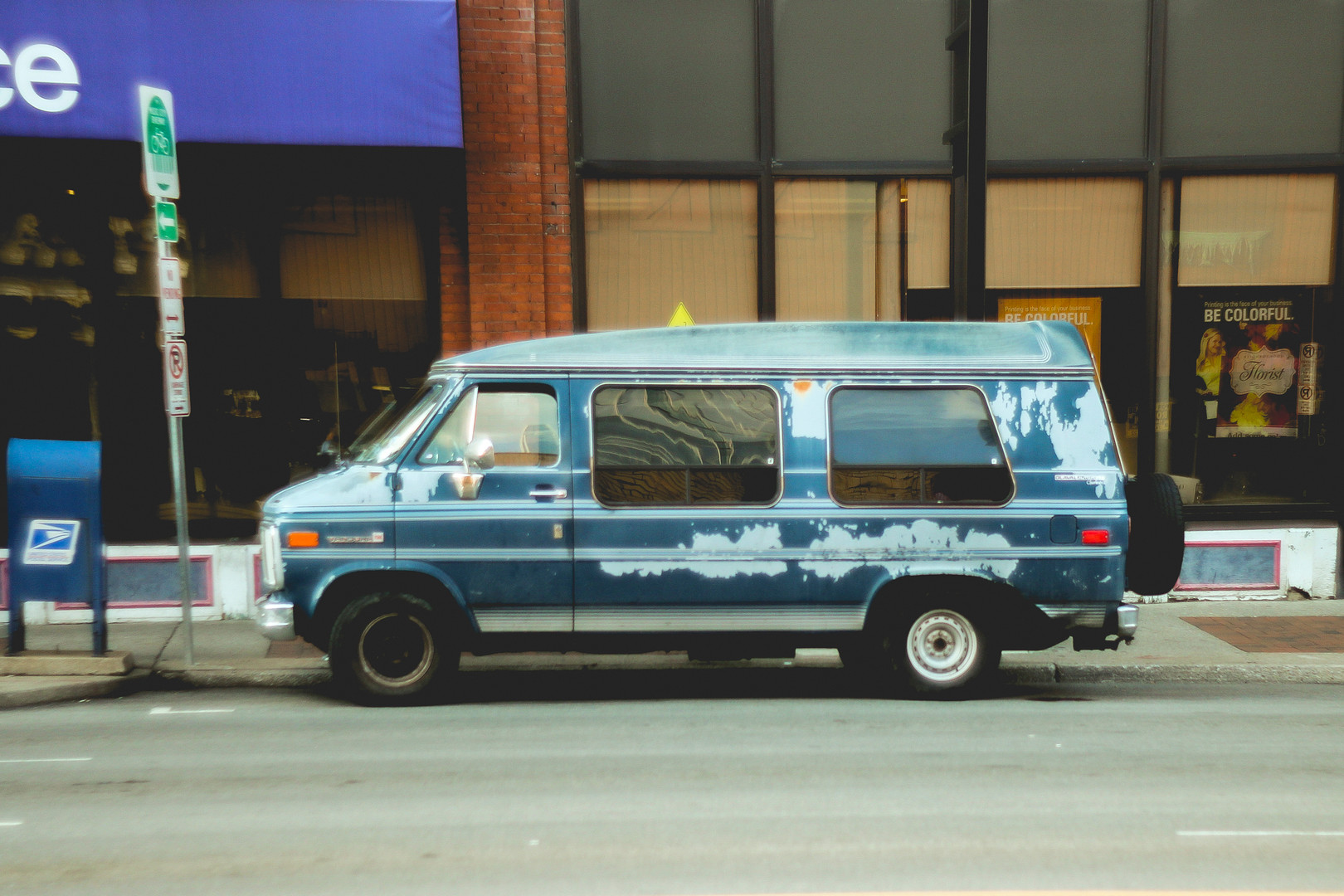A van is parked in Broadway street, Nashville, Tennessee. August 2013