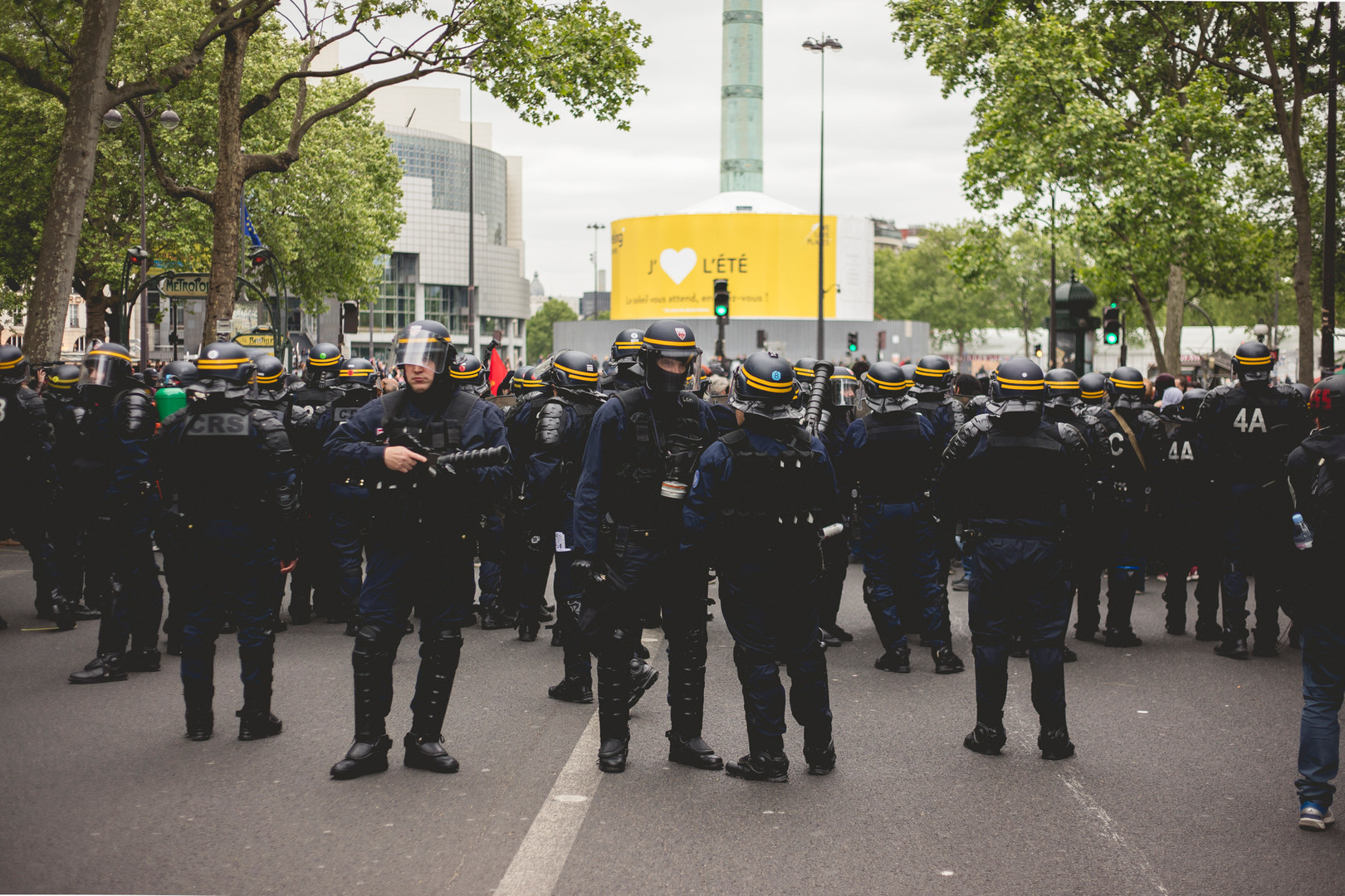Police officers during a demonstration against French Parlament Elections. Paris, May 8th, 2017