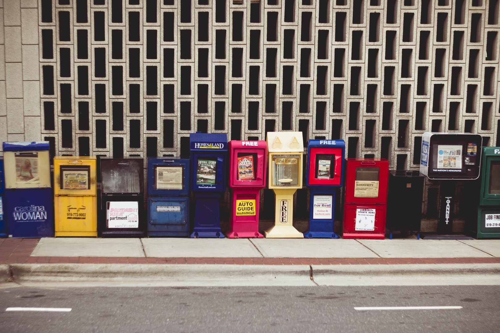 Journals boxes on the streets of Raleigh, NC, December 2014